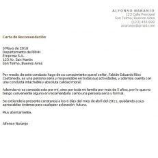 Carta de referencia profesional